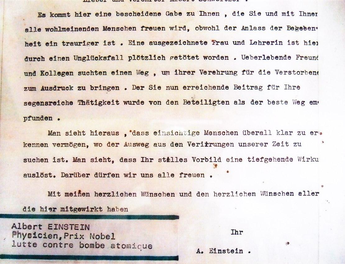 Brief von Einstein an Schweitzer © Wolfgang Stoephasius